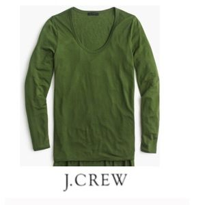 J. Crew Green Scoopneck Drapey Long Sleeve Tee